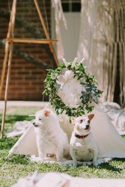 Adorable friends Monty & Audrey. Floral Wreaths: Lime Tree Bower