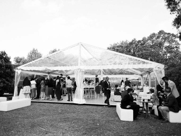 Clear marquees enhance the garden theme. Photo: We Are Origami Photography