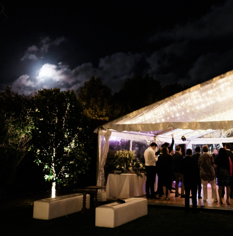Fairy lights sparkle in the night. Photo: We Are Origami Photography